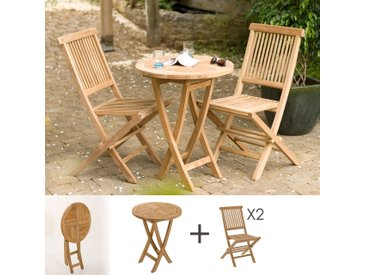 Ensemble table ronde et 2 chaises en teck