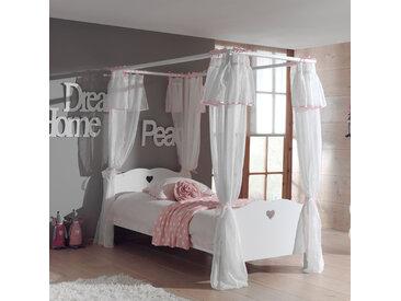 Lit à baldaquin 90x200 cm + rideau blanc - AMORENA