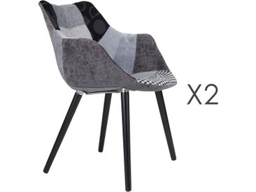 Lot de 2 fauteuils patchwork gris - TWELVE