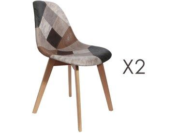 Lot de 2 chaises repas en patchwork marron