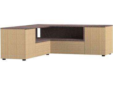Meuble TV d'angle 130x130x46 cm chêne et béton - SQUAR