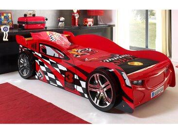 Lit voiture 229x111x60 cm rouge