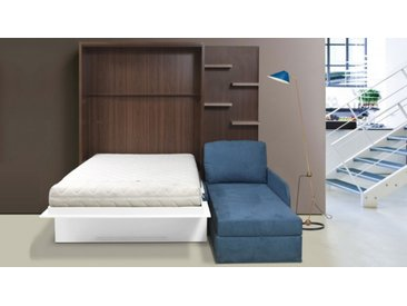 Lit escamotable 160x200 cm canapé d'angle - Joss - Blanc