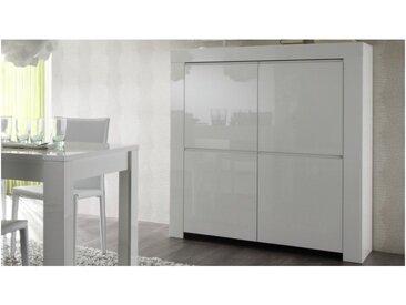 Bahut haut design laqué blanc 4 portes - Naomi