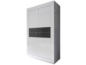 Buffet haut design 4 portes laqué - Lernig - Blanc et Gris anthr