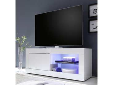 Meuble TV LED 1 porte - Lernig Small - Blanc