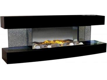 Cheminée laquée noire électrique - Lounge - 5 bûches en céra