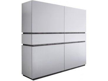 Buffet haut blanc mat 4 portes + 2 tiroirs - Ivo