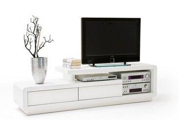 Meuble TV 2 tiroirs laqué blanc - Lewis
