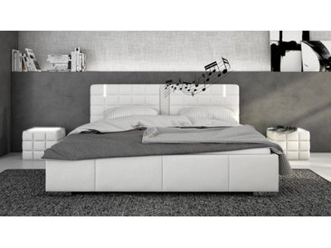 Lit blanc 160x200 cm LED et haut-parleurs - Wouter - Avec sommier