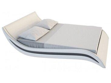 Lit design 160x200 cm blanc et noir - Laren - Avec sommier (+ 99.