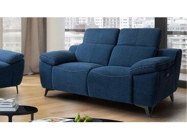 Canapé de relaxation 2 places électrique - Faro - Tissu Bleu 09