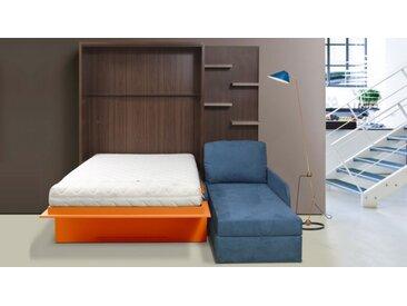 Lit escamotable 160x200 cm canapé d'angle - Joss - Droit