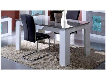 Table à manger design à rallonge - Orson - Laqué Blanc et Bét