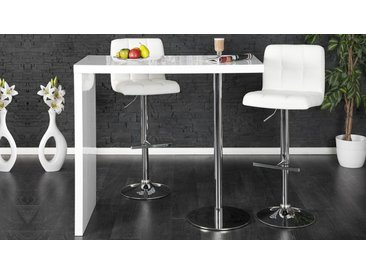 Bar design blanc avec pied chromé - Scarlet