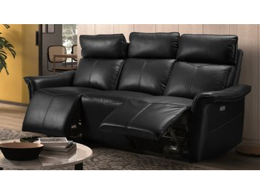 Canapé cuir relax 3 places électrique - Vadim - Noir 651