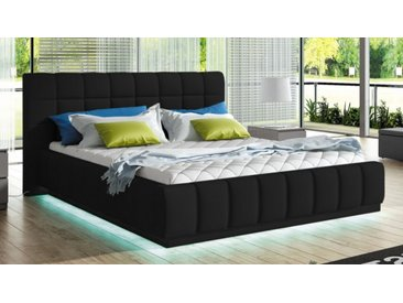 Lit simili cuir noir 160x200 cm avec LED - Etor - Avec sommier (+