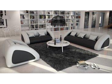 Salon complet design contemporain en cuir 3+2+1 - Brooks