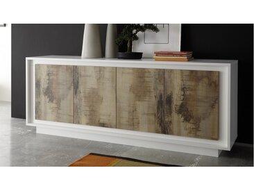 Bahut design 4 portes bois laqué blanc - Brann