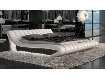Lit design 160x200 cm blanc et noir - Brewer - Avec sommier (+ 99