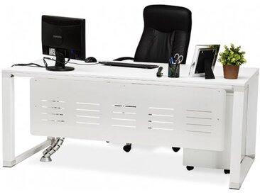 Bureau droit design en bois - Kristopher - Blanc