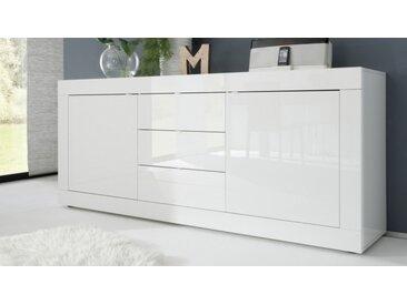 Bahut design 2 portes + 3 tiroirs laqué blanc - Lernig - Laqué