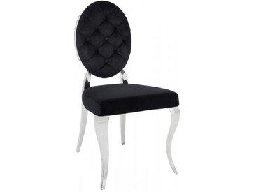 Chaise médaillon velours noir baroque - Zita