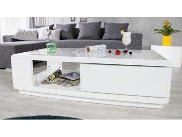 Table basse design tiroir pivotant - Maxan - Blanc uni