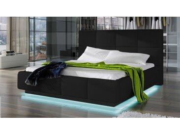 Lit lumineux simili cuir noir 160x200 cm - Winston -  Sans sommie