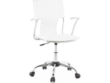 Siège de bureau design en simili cuir - Hassan - Blanc