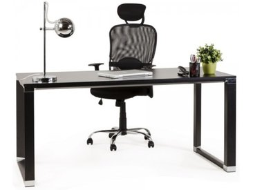 Bureau droit design en bois - Kristopher - Noir