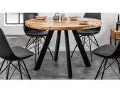 Table ronde industrielle en bois massif - Davis