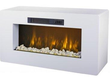 Meuble cheminée électrique blanc - Meribel - Pierres rouges