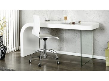 Bureau design laqué blanc avec verre - Naas