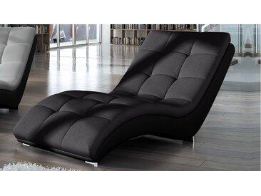 Chaise longue relax tissu et simili cuir - Kan - Assise Gris fonc