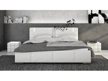Lit blanc 140x190 cm LED et haut-parleurs - Wouter -  Sans sommie