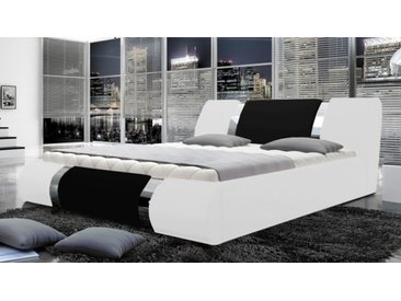 Lit blanc et noir design 180x200 cm - Spencer -  Sans sommier