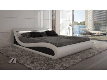 Lit design 160x200 cm blanc et noir - Aspen - Avec sommier (+ 99.
