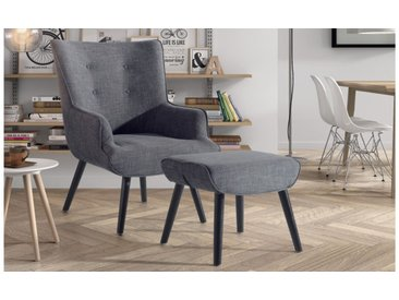 Fauteuil design tissu avec repose-pieds - Falk - Gris clair 376