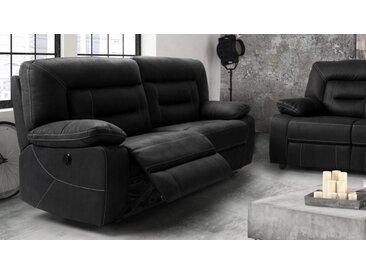 Canapé tissu relax 3 places électrique - Adana - Tissu nubuck g