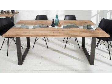 Table à dîner plateau bois et verre - Rome