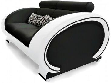 Canapé design de salon 2 places - Elton - Assise Noir 902 / Côt