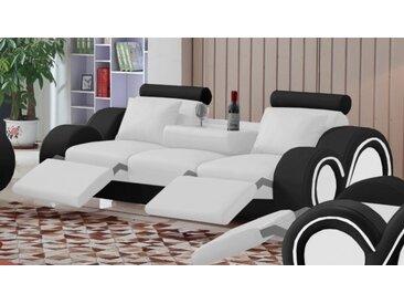 Canapé design 3 places relax en cuir - Carlson - Assise Blanc 90