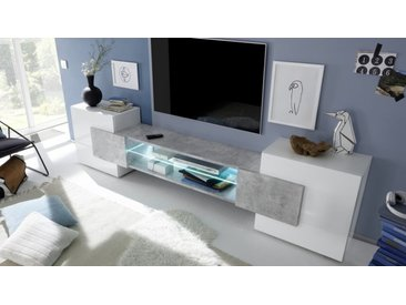 Meuble TV LED béton et laqué blanc - Oman