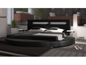 Lit rond design 140x190 cm noir avec LED - Uster - Avec sommier (