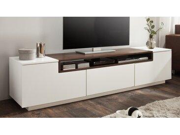Meuble TV design laqué blanc et bois - Kigali - Bois de noyer fo