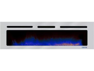 Grande cheminée design LED - Brite Inox - Pierres rouges