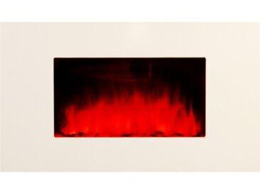 Cheminée électrique blanche - White Loft - Pierres rouges