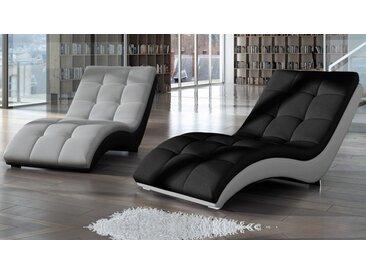 Chaise longue relax tissu et simili cuir - Kan - Assise Gris clai