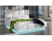 Lit simili blanc 160x200 cm avec LED - Winston - Avec sommier (+